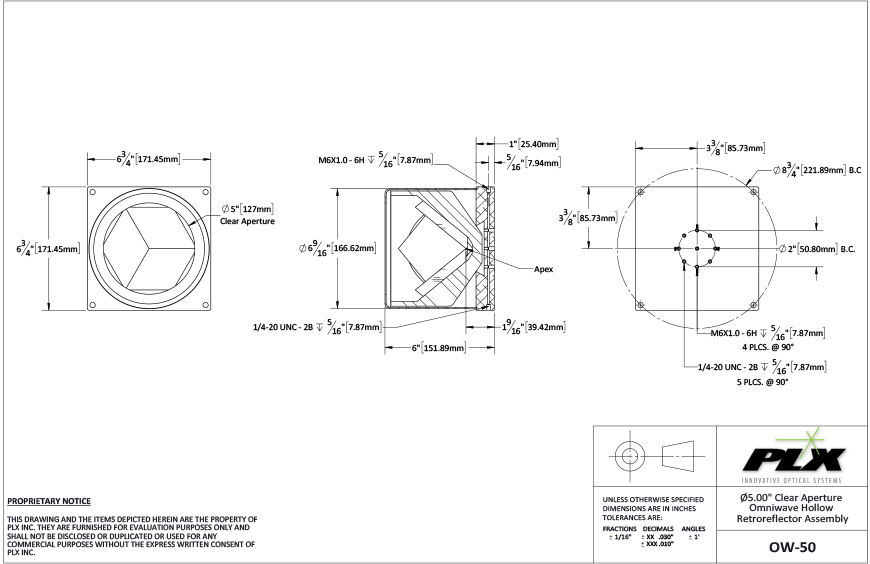 Ow 50 50 Clear Aperture Diagram Plx Inc